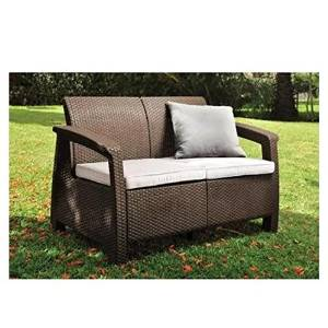 Keter Corfu Patio Loveseat, Brown 214770