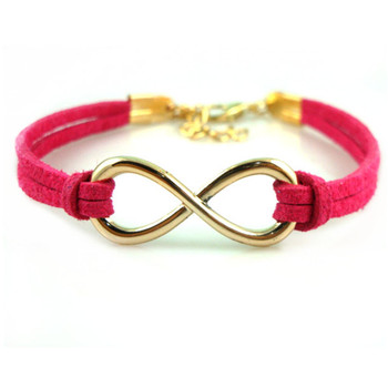Large Infinity Symbol Cast Iron Leatherette Bracelet With Lobster