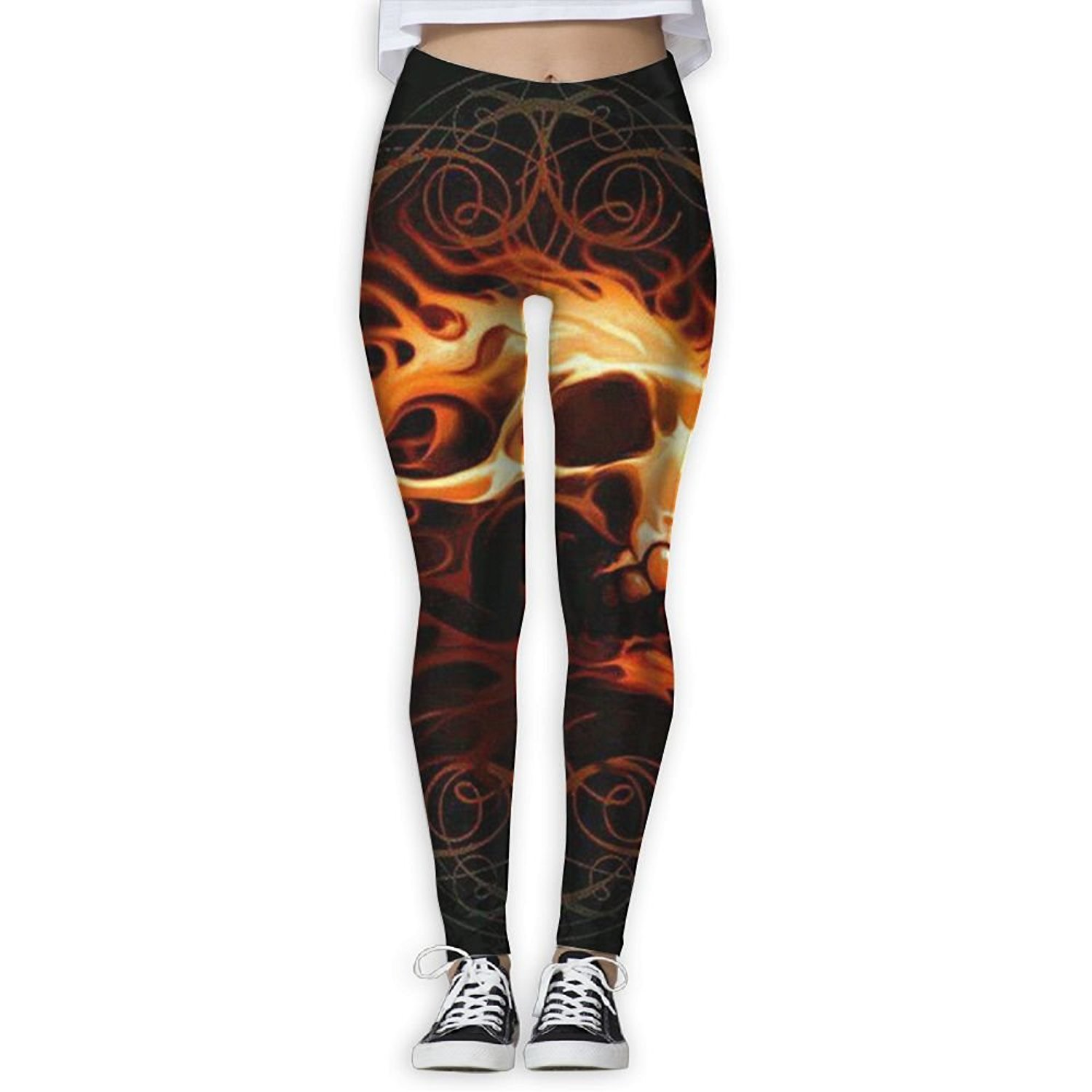 d7a6f8b76b9 Get Quotations · PWiggy Womens Yoga Leggings Flame Skull Compression Sports Tights  Pants Athletic Leggings