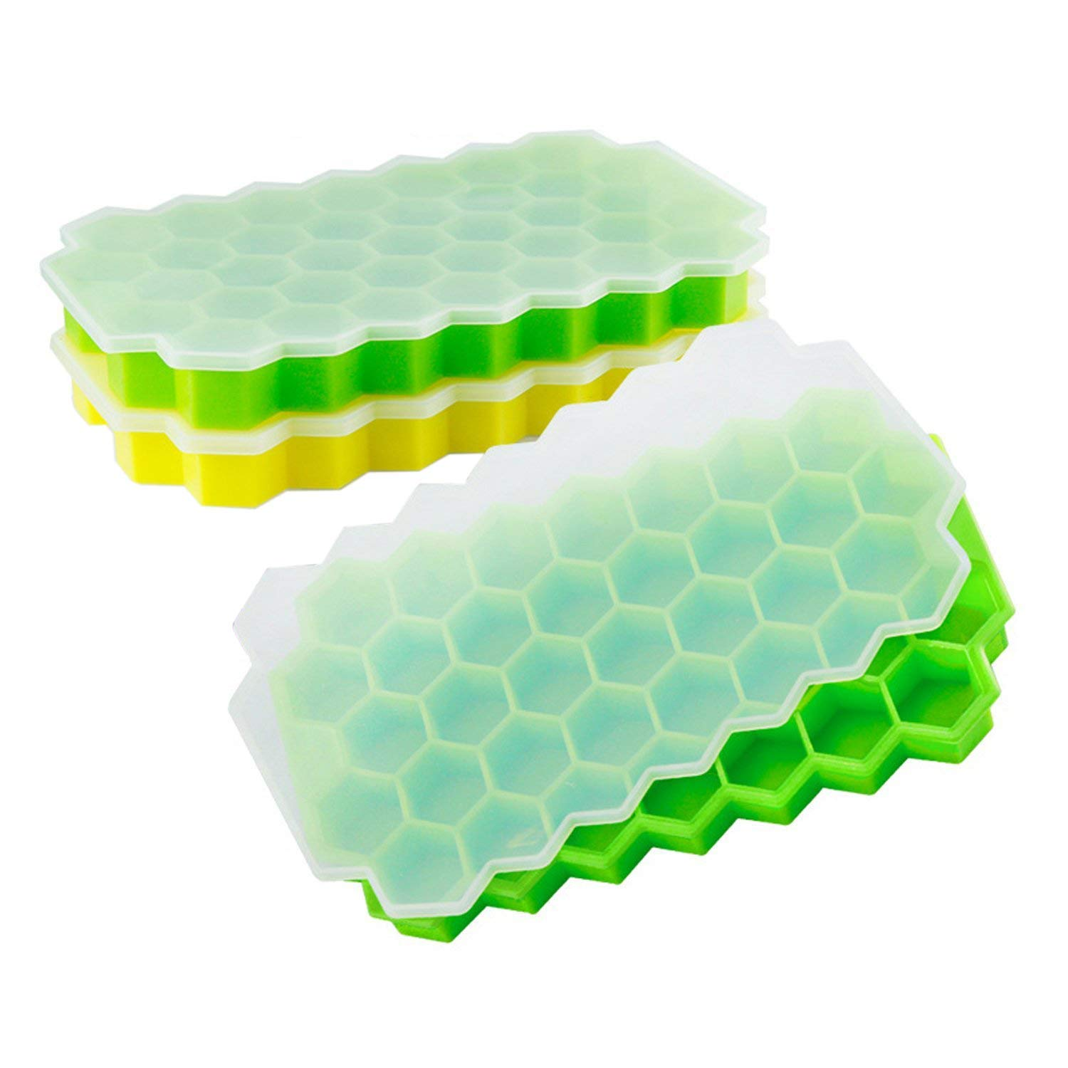 24-Ice Cubes LFver Ice Cube Trays 3 Pack ,Ice Trays Silicone with Lids,LFGB Certified and BPA Free,Stackable Flexible Safe Ice Cube Molds and Dishwasher Safe. With Cover