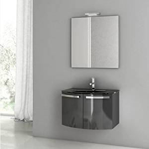 """Nameeks CD07 ACF 27-3/5"""" Wall Mounted Vanity Set with Wood Cabinet, Glass Top wi, Glossy Anthracite"""