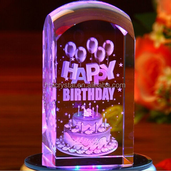 Beautiful custom made 3d laser crystal cube for birthday gifts