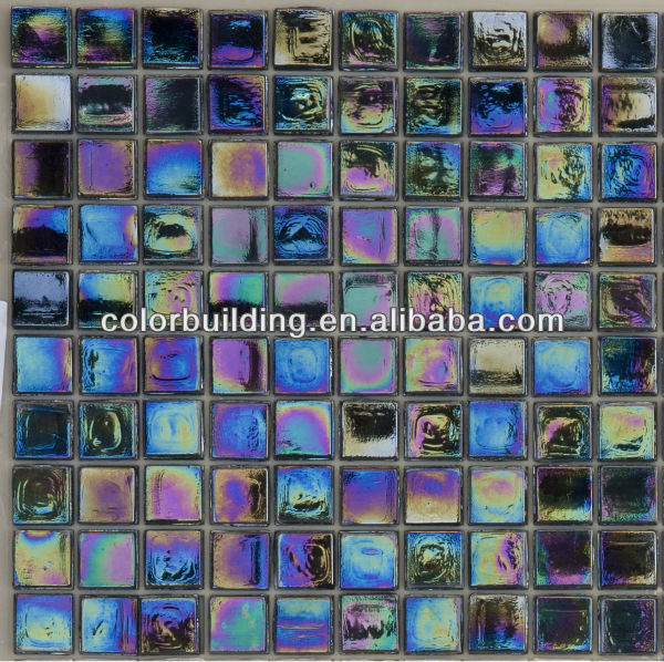 Reflective rainbow black pearl glass mosaic tile