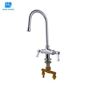 Chrome plated dual handles 360 degree swivel faucet Australian standard swan neck kitchen tap in copper
