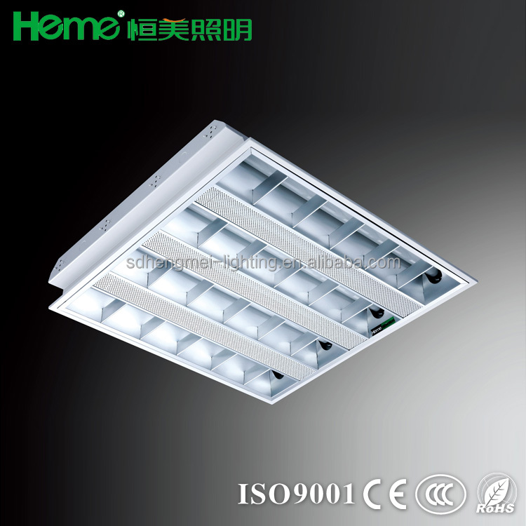 Recessed T8 Fluorescent Lighting Fixture With Perforated Grille Lamp Troffer