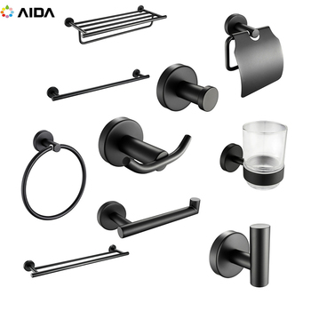 China Stainless Steel Bathroom Accessories Set Black Hardware Set