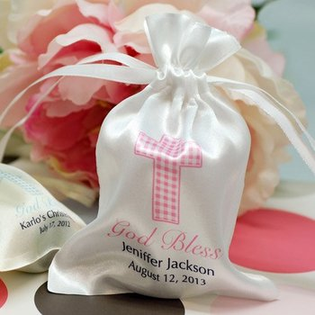 White Satin Jewelry Bag with Pink Writting