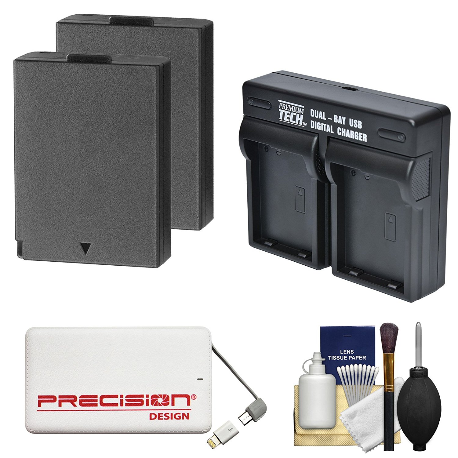Power2000 LP-E10 Rechargeable Battery (2x) & Dual Charger + Power Bank + Kit for Canon EOS Rebel T3, T5, T6 DSLR Cameras