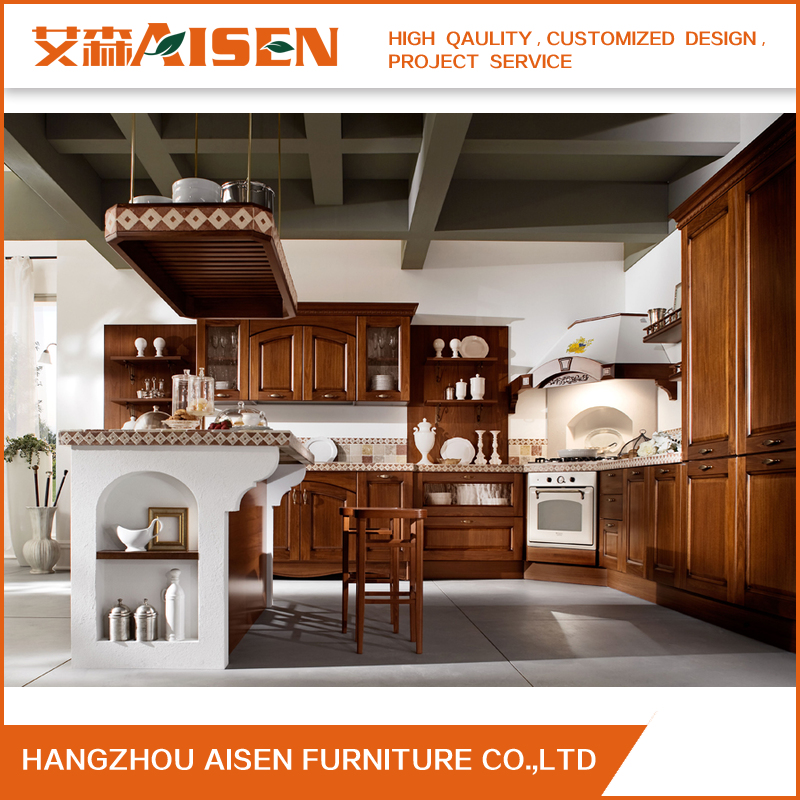 Vintage Kitchen Furniture Customized Solid Wood Kitchen Cabinets for American