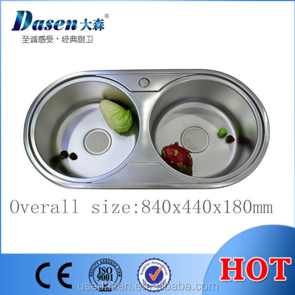 DS 8444 Stainless Steel Double Round Bowl 304 Kitchen 18 Gauge Sink