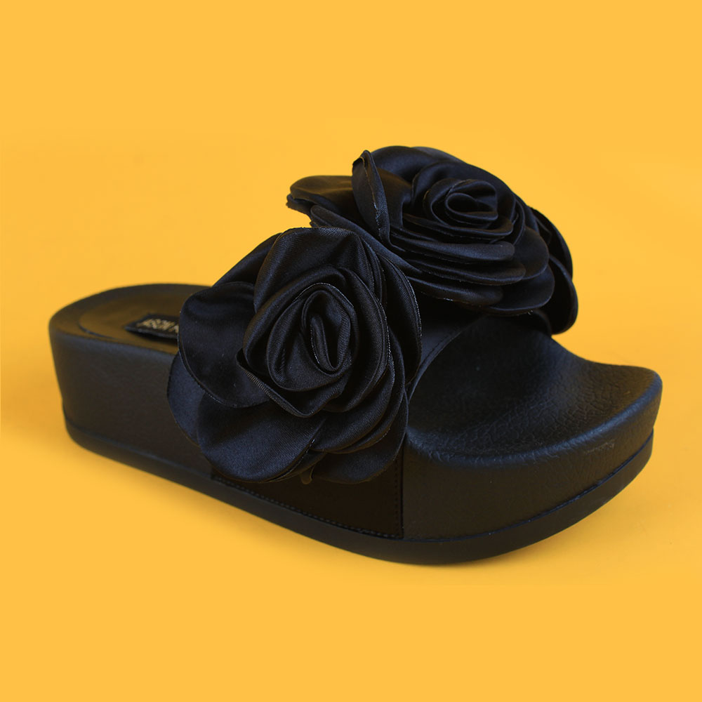 Ladies All Black Thick EVA Sole Fashion Old Friend Slippers