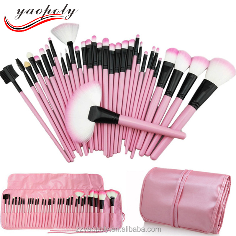 Wholesale 32Pcs Foundation Brushes Makeup Good Quality Cosmetic Tools Blush Boar Bristle Eye Cushion Hair Coloring Brush <strong>Set</strong>