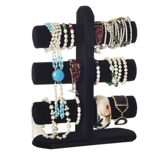 Black Velvet Popular 3-Bar Watch Bracelet Jewelry Bangle Display Stand Holder