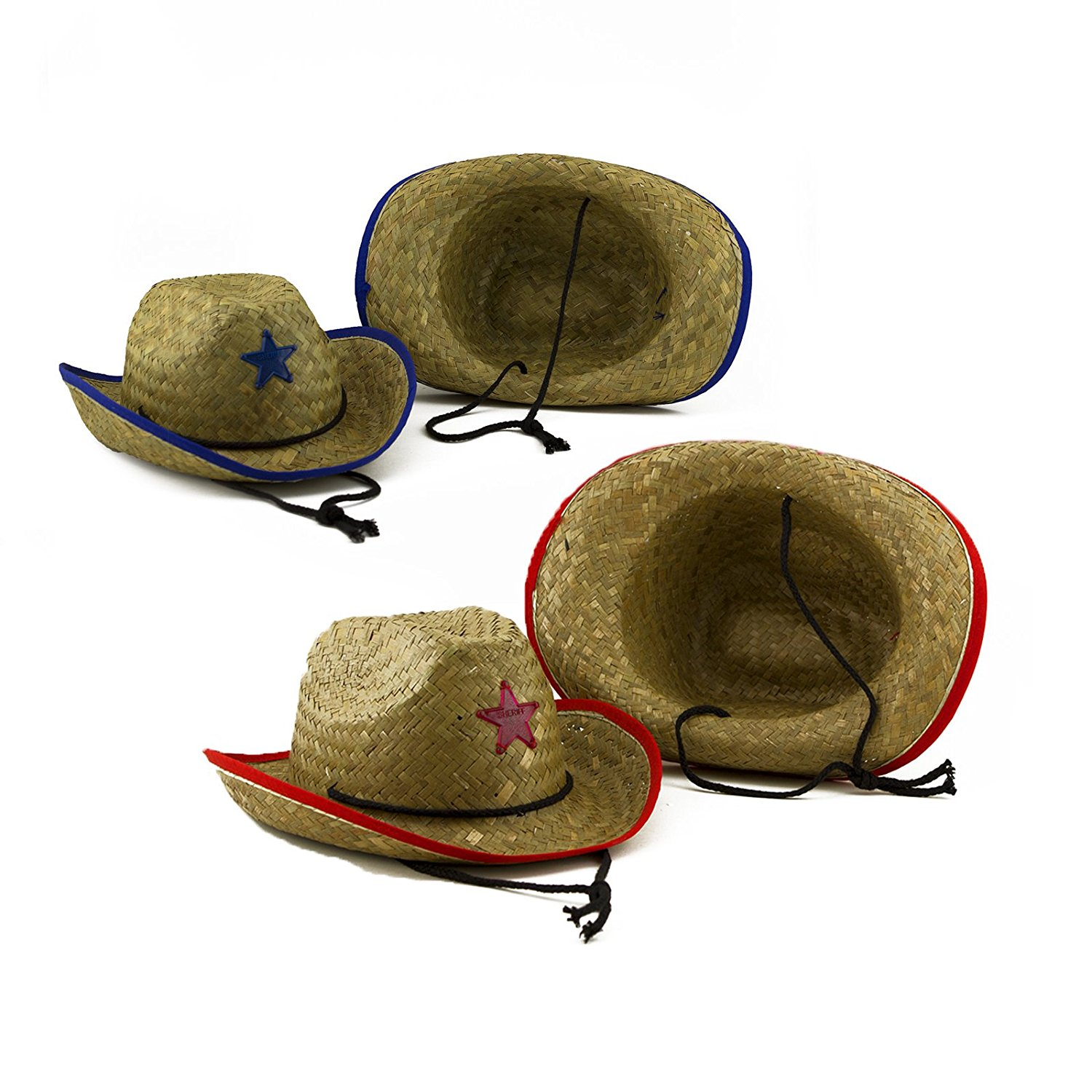 b98940a8476be Get Quotations · Adorox 12pcs Straw Cowboy Hat Sheriff Police Prison  Halloween Costume Accessory
