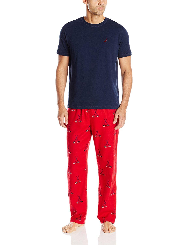 71be6faf15 Get Quotations · Nautica Men s Pajama Set with Tee Shirt and Hockey Print  Pant