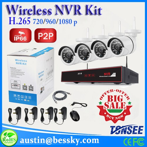 Bessky onvif 960p hd ip camera 8ch wireless nvr kit outdoor ir cut 8 channel security camera system
