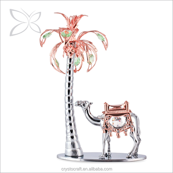 Crystocraft Deluxe Rose Gold Plated Metal Palm Tree With Camel Figurine  Decorated With Crystals From Swarovski Table Decoration - Buy Crystal Palm