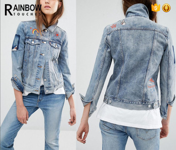 Embroidered Patch Washed Women Denim Jeans Jacket With Custom