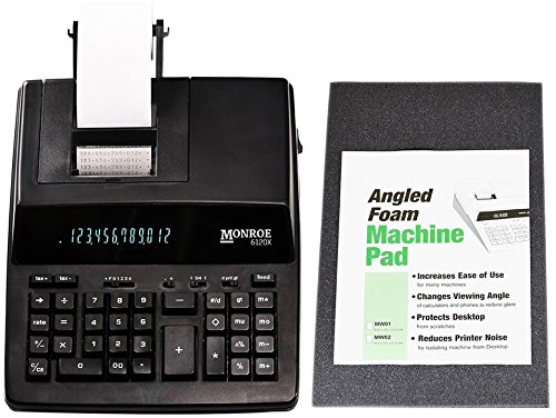 New Monroe Systems for Business 6120X 12-Digit Print/Display Medium-Duty Calculator With Foam Elevation Wedge (Calculator With Foam Elevation Wedge, Black)