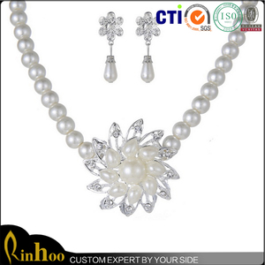 wholesale direct sale indian bridal pearl jewelry sets,chinese pearl necklace+flower shape pearl earring