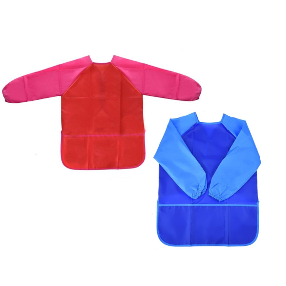 Smock for Kids, Bestale 2 Pack Kids Art Aprons Children's Waterproof Painting Aprons Long Sleeve with 3 Roomy Pockets for Painting Supplies (Paints and Brushes not included)