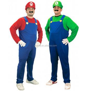 Adult Unisex Men Mario Luigi Bros Mascot Costume Halloween Funny