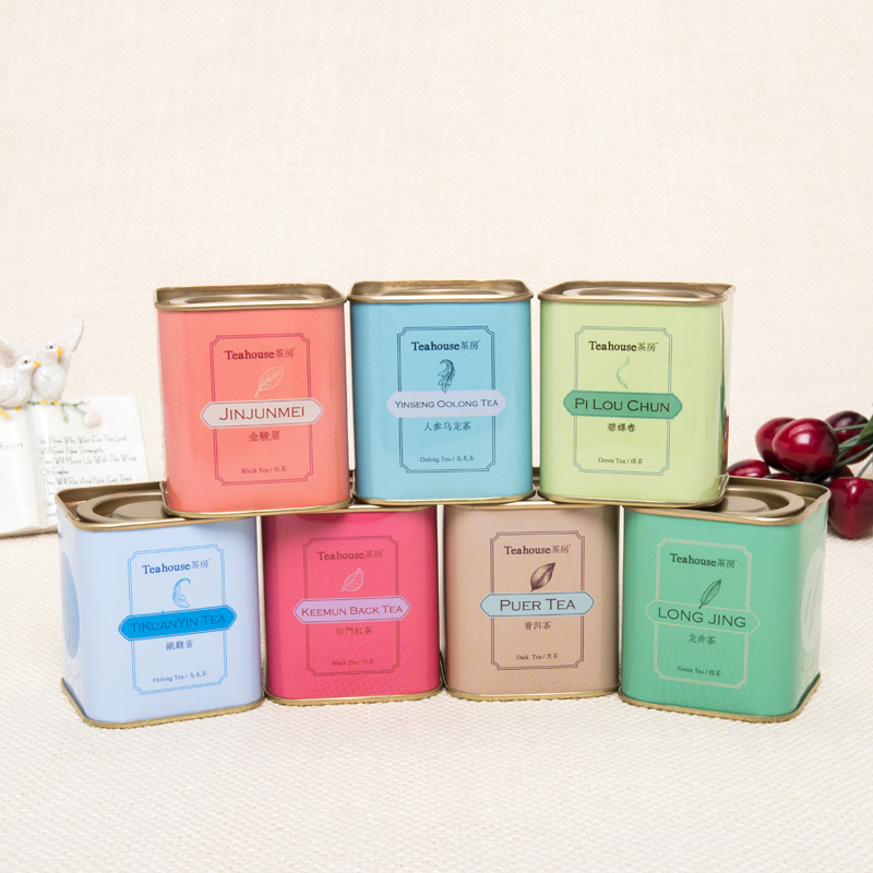 Small size square coffee and tea tin box packaging