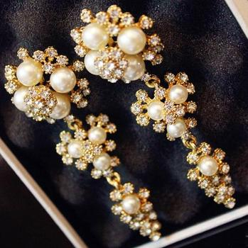 Bridal Pearl Earrings Traditional Gold Crystal Earring Long Size