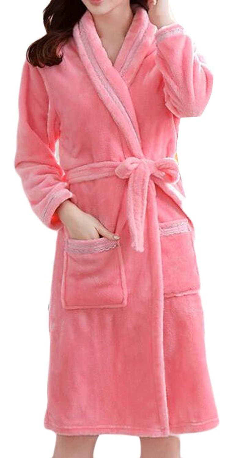 a2ac648046 Get Quotations · Macondoo Women s Warm Super Soft Shawl Collar Flannel  Bathrobe Robes