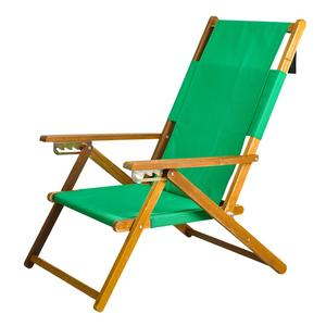 APEX LIVING Portable Patio Wooden Beach Folding Adjustable Chair Commercial Indoor Outdoor Chaise Lounger Green