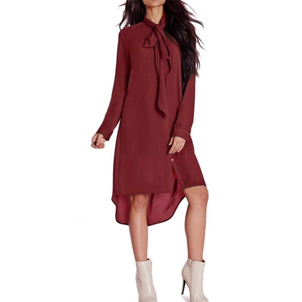 Ninasill Women Dress, ღ Hot Sale ღ ! Casual Style Loose Bow Tie Dress Long Sleeve Chiffon Dresses Blouse Tops