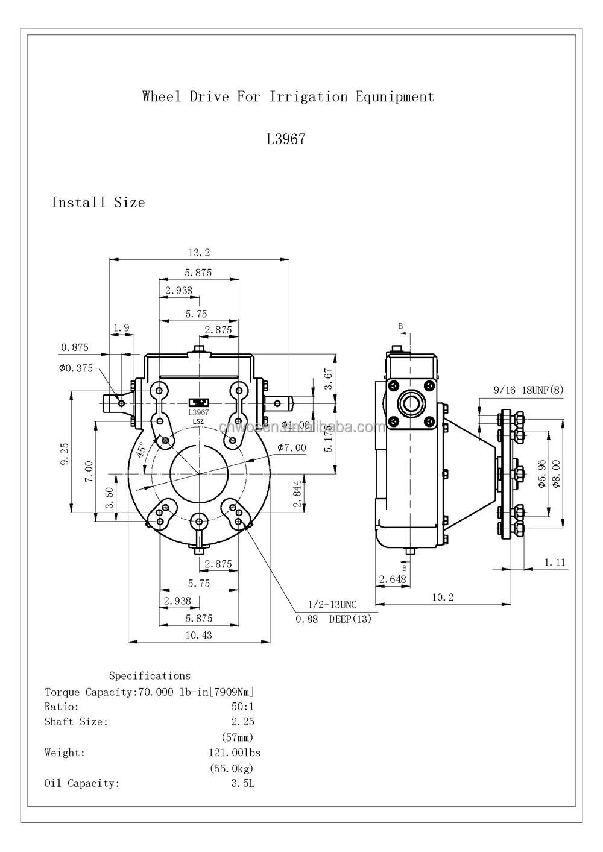 Center pivot gearbox pivot irrigation system 50/1 ratio reducer gearbox