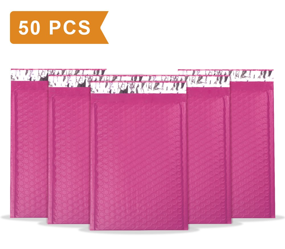 """UCGOU 6x10"""" Pink Poly Bubble Mailers Self Seal Padded Envelopes Shipping Envelope Bags Water Resistant 50pcs"""