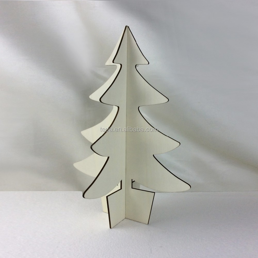 Unpainted natural wooden Christmas tree laser cut supplies crafts ornaments