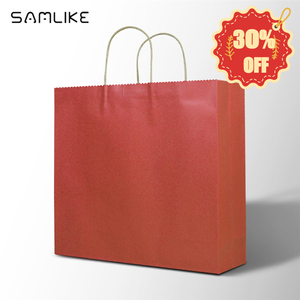 Wholesale Christmas Orange Paper Hand Bag Laminated Shopping Carry Custom Logo Gift Wine Bags Paper With Logo