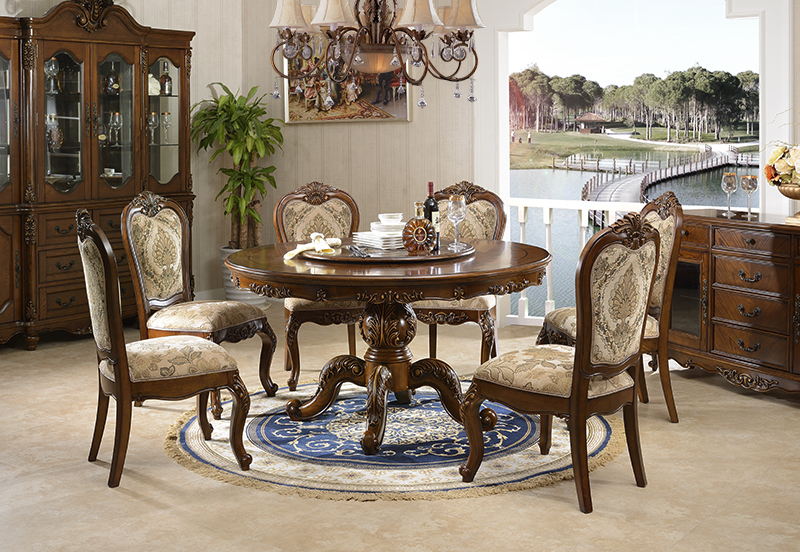 Popular American Furniture Magnificent Wooden Round Rotating Dining Table Design