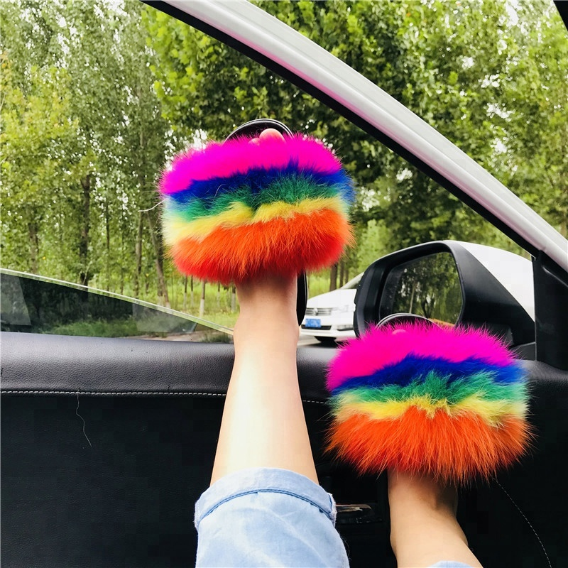 Popular slides sandals soft fox fur <strong>slippers</strong>