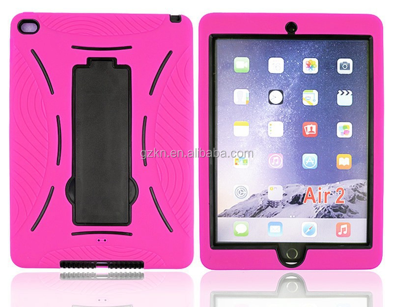 For iPad Air II stand rubber bumper tablet case,For Apple iPad 6 dual layer heavy duty case cover