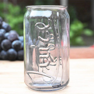 Cola Can Shaped Beverage Glass, Clear Colored Embossed Can Glass Tumbler
