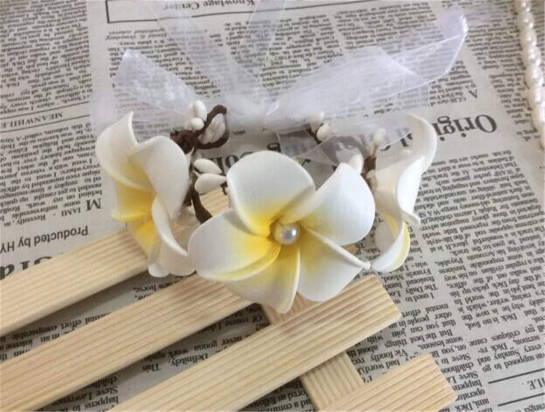 Leo Lamb Bride Bridesmaid Flower Wreath Wrist Ornaments Accessories Frangipani Bride Flower Crown Hawaii Flower Garland Wrist Flower
