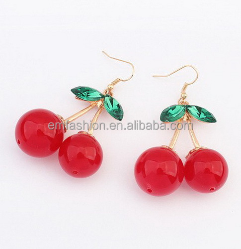 Fashion Jewelry Korean Style Lovely Cherry Women's Alloy Earring