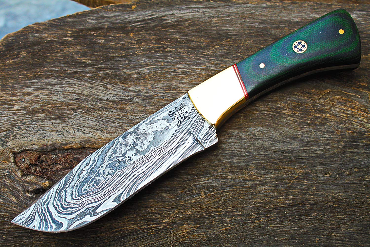 "Damascus Blade Handmade 4.5"" Hunting knife w/Linen Miacrta, Brass Bolsters & Fine Sheath Cover UDK-iK-S-60"