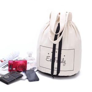 Wholesale cheap blank cotton canvas round drawstring backpack bag