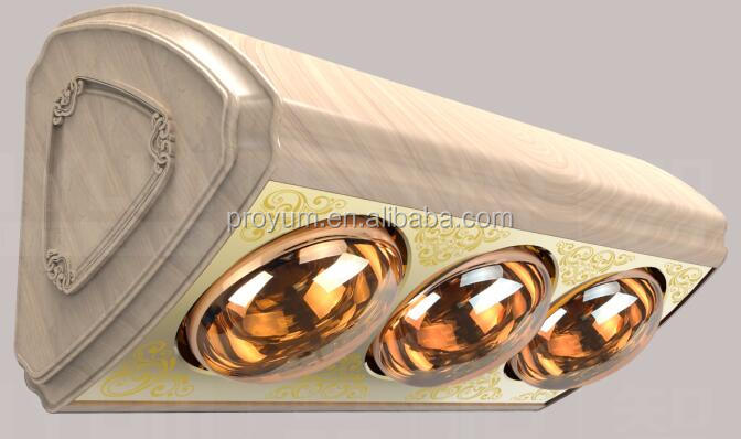 Wall Mounted golden infrared heater with three lamps for bathroom heating