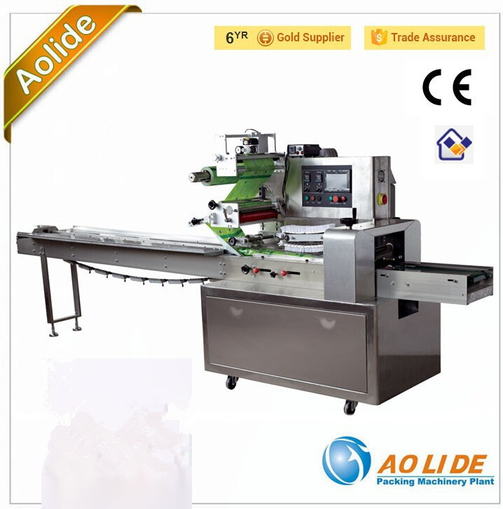Biscuits Packing machine ALD-450D Full Stainless auto sealing and cutting pillow wrapping machine