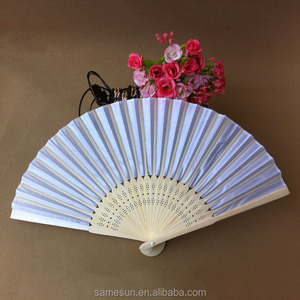 White Silk Folding Hand Fan for Wedding Favor