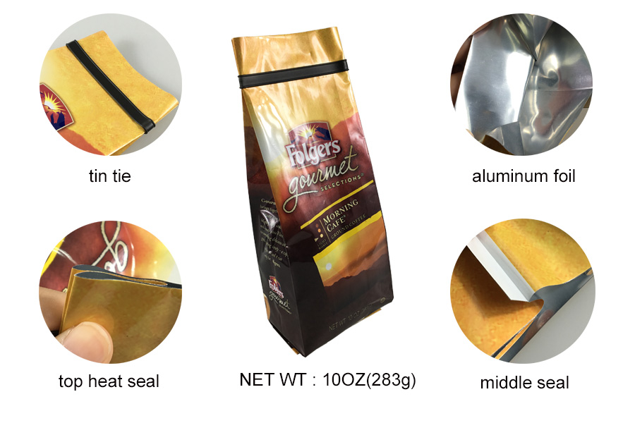 China supplier products 10oz 283g customize printing tin tie aluminum foil side gusset coffee packaging bags