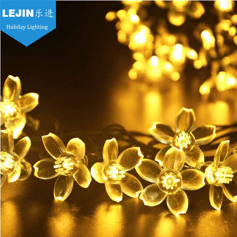 christmas led string light with flower decorations