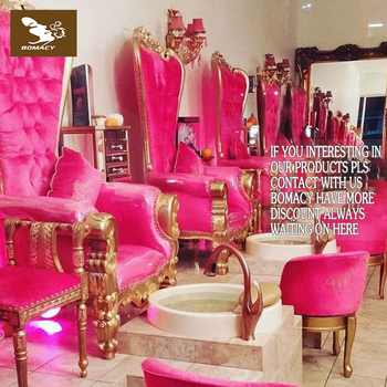 Pink Salon Furniture Supplier/ Baroque Pedicure Spa Chair With Glass ...