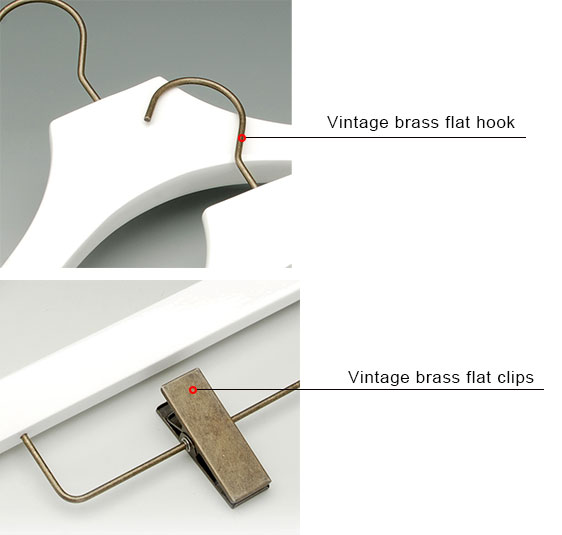 Assessed Supplier LINDON Vintage Brass Hook Deluxe White Wooden Clothes Hanger